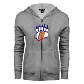 ENZA Ladies Grey Fleece Full Zip Hoodie-Tertiary Logo