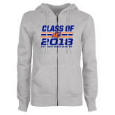 ENZA Ladies Grey Fleece Full Zip Hoodie-Class Of - Stripes