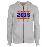 ENZA Ladies Grey Fleece Full Zip Hoodie-Class Of - Banners