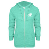 ENZA Ladies Seaglass Marled Full Zip Hoodie-Primary Logo