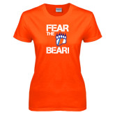 Ladies Orange T Shirt-Fear the Bear with Claw