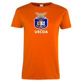 Ladies Orange T Shirt-Coast Guard Academy Seal