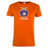 Ladies Orange T Shirt-Coast Guard Academy Seal
