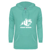 ENZA Ladies Seaglass V Notch Raw Edge Fleece Hoodie-Primary Logo
