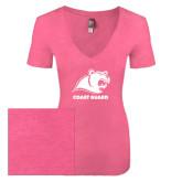 Next Level Ladies Vintage Pink Tri Blend V-Neck Tee-Primary Logo