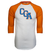White/Orange Raglan Baseball T Shirt-Secondary Logo