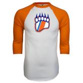 White/Orange Raglan Baseball T Shirt-Tertiary Logo