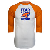 White/Orange Raglan Baseball T Shirt-Fear the Bear