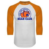 White/Orange Raglan Baseball T Shirt-Bear Club