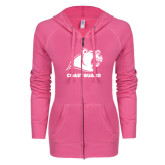 ENZA Ladies Hot Pink Light Weight Fleece Full Zip Hoodie-Primary Logo