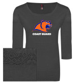 Ladies Charcoal Heather Tri Blend Lace 3/4 Sleeve Tee-Primary Logo