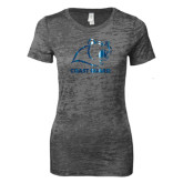 Next Level Ladies Junior Fit Dark Grey Burnout Tee-Primary Logo