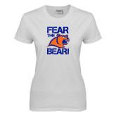 Ladies White T Shirt-Fear the Bear