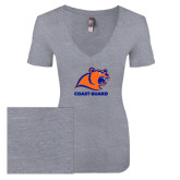 Next Level Ladies Vintage Heather Tri Blend V Neck Tee-Primary Logo