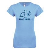 Ladies SoftStyle Junior Fitted Light Blue Tee-Primary Logo