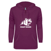 ENZA Ladies Berry V Notch Raw Edge Fleece Hoodie-Primary Logo