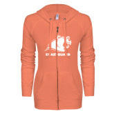 ENZA Ladies Coral Light Weight Fleece Full Zip Hoodie-Primary Logo