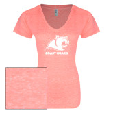 ENZA Ladies Coral Melange V Neck Tee-Primary Logo