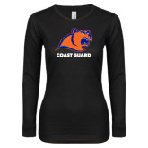 Ladies Black Long Sleeve V Neck T Shirt-Primary Logo