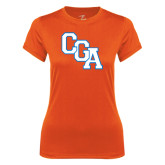 Ladies Syntrel Performance Orange Tee-Secondary Logo