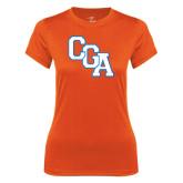 Ladies Syntrel Performance Orange Tee-Secondary Logo