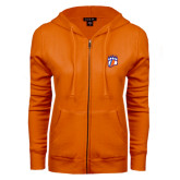 ENZA Ladies Orange Fleece Full Zip Hoodie-Tertiary Logo