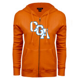 ENZA Ladies Orange Fleece Full Zip Hoodie-Secondary Logo