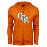 ENZA Ladies Orange Fleece Full Zip Hoodie-Secondary Logo