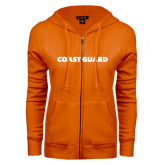 ENZA Ladies Orange Fleece Full Zip Hoodie-Coast Guard