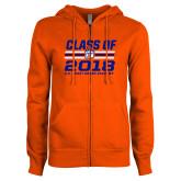 ENZA Ladies Orange Fleece Full Zip Hoodie-Class Of - Stripes