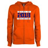 ENZA Ladies Orange Fleece Full Zip Hoodie-Class Of - Banners