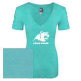 Next Level Ladies Vintage Tahiti Blue Tri Blend V Neck Tee-Primary Logo