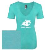 Next Level Ladies Vintage Tahiti Blue Tri Blend V Neck Tee-Primary Logo