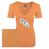 Next Level Ladies Vintage Light Orange Tri Blend V-Neck Tee-Secondary Logo