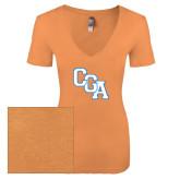 Next Level Ladies Vintage Light Orange Tri Blend V-Neck Tee-Secondary Logo