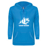 ENZA Ladies Pacific Blue V Notch Raw Edge Fleece Hoodie-Primary Logo