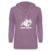 ENZA Ladies Hot Violet V Notch Raw Edge Fleece Hoodie-Primary Logo