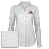 Ladies Red House Diamond Dobby White Long Sleeve Shirt-Bear Club