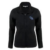 Ladies Black Softshell Jacket-Secondary Mark