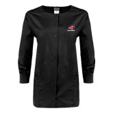 Ladies Black Snap Front Warm Up Scrub Jacket-Primary Logo