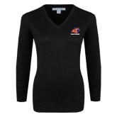 Ladies Black V Neck Sweater-Primary Logo