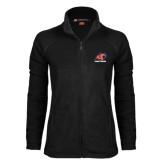 Ladies Fleece Full Zip Black Jacket-Primary Logo