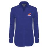 Ladies Red House Diamond Dobby Royal Long Sleeve Shirt-Primary Logo