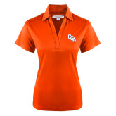 Ladies Orange Performance Fine Jacquard Polo-Secondary Mark