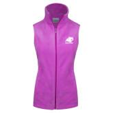 Columbia Ladies Full Zip Lilac Fleece Vest-Primary Logo