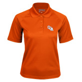 Ladies Orange Textured Saddle Shoulder Polo-Secondary Mark