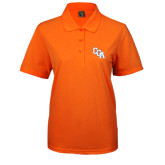 Ladies Easycare Orange Pique Polo-Secondary Mark