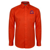 Orange Twill Button Down Long Sleeve-Bear Club