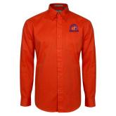 Orange Twill Button Down Long Sleeve-Bear Club