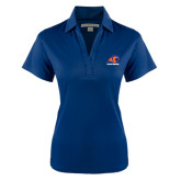 Ladies Navy Performance Fine Jacquard Polo-Primary Logo
